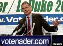 FILE - Green Party Presidential candidate Ralph Nader speaks during a press conference at the National Press Club in Washington, D.C., Sept. 25, 2000.