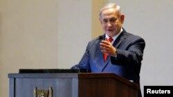 Le Premier ministre israélien Benjamin Netanyahu lors d'une conférence de presse à la State House, à Entebbe, en Ouganda, le 3 février 2020.