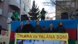 Milli Şura «Talana son»şüarı ilə mitinq keçirir/Eldəniz Qulievin çıxışı