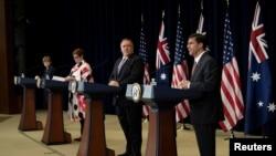 28일 워싱턴에서 미국-호주 2+2 고위급 회담이 열렸다. 오른쪽부터 미국의 마크 에스퍼 국방장관과 마이크 폼페오 국무장관, 호주의 머리스 페인 외무장관과 린다 레이놀즈 국방장관.