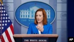 젠 사키 미국 백악관 대변인이 24일 정례브리핑에서 발언하고 있다.