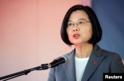 Taiwan's President Tsai Ing-wen speaks during her visit in Port-au-Prince, Haiti July 13, 2019.