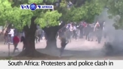 VOA60 Africa - South Africa: Protesters and police clash in Johannesburg over the cost of university education