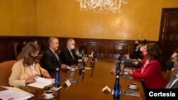 El presidente Iván Duque recibió en la cancillería colombiana a la Comisión interamericana de Derechos Humanos, el martes 8 de junio.