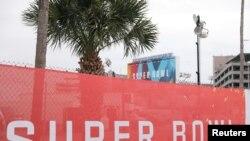 فلوریڈا کے شہر ٹیمپا میں رے مینڈ جیمز اسٹیڈیم کے باہر شپر باول کا بینر