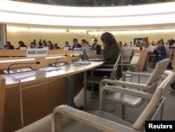 BM İnsan Hakları Konseyi'nin Cenevre'deki toplantısında Suudi Arabistan heyetinin koltuklarının boş kaldığı oturum, 23 Eylül 2019.