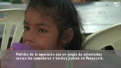 Venezuela: Político opositor ofrece alimentos a niños pobres
