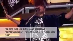 Convenção Democrata: Alicia Keys foi show de tambores e efeitos multimédia no evento