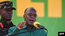 FILE - Tanzania's incumbent President and presidential candidate of ruling party Chama Cha Mapinduzi John Magufuli speaks at the Jamhuri stadium in Dodoma, Tanzania, Aug. 29, 2020.