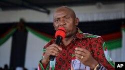 Le candidat de l'opposition Agathon Rwasa lors du congrès du parti d'opposition Congrès national pour la liberté, dans la capitale Bujumbura, au Burundi, dimanche 16 février 2020.