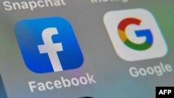 ឡូហ្គោបណ្ដាញសង្គម Facebook និងស្លាកសញ្ញា Google។
