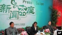 中国记协举办新闻茶座,杜永彬(右一)等三名藏学专家发言