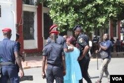 Police arrest a protester on Place de l'Independance, in Dakar, Senegal, July 25, 2017. (S. Christensen/VOA)