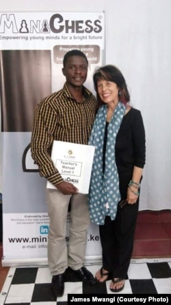 Tom Amwai after being certified as a Mini Chess teacher.