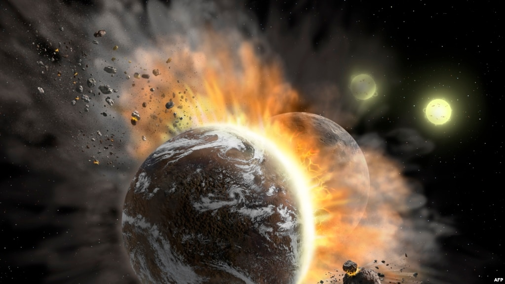 This undated NASA image obtained January 28, 2020 shows an artist's concept illustration of a catastrophic collision between two rocky exoplanets in the planetary system BD +20 307, turning both into dusty debris. - (Photo by Lynette Cook / NASA / AFP)