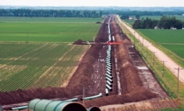 The Keystone pipeline under construction in David City, Nebraska. (Courtesy TransCanada)
