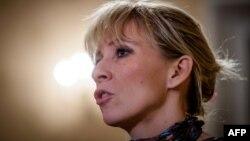 Maria Zakharova, porte-parole du ministère russe des Affaires étrangères, lors d'une interview à Moscou le 16 janvier 2018.