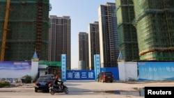 中國江蘇省蘇州太倉的一處恆大集團開發的住宅小區工地。(2021年9月23日)