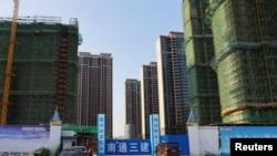 中国江苏省苏州太仓的一处恒大集团开发的住宅小区工地。(2021年9月23日)