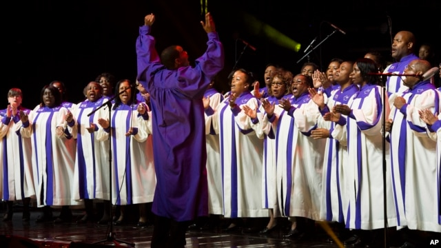 The Mount Olive United Voices Choir from Hackensack, NJ performs on May 11, 2013 in Newark, NJ. A new study suggests singers' heartbeats are in harmony, along with their voices.