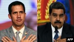 Rais Maduro (kulia) na Rais Guaido wanaopingana Venezuela