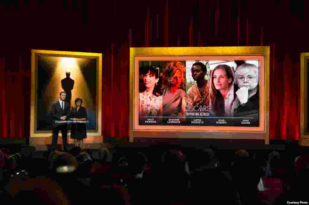 Actor Chris Hemsworth (left) and Academy President Cheryl Boone Isaacs announced the nominees for the 86th Annual Academy Awards in the Academy's Samuel Goldwyn Theater, Jan. 16, 2014, Los Angeles, California. (Oscars.org)