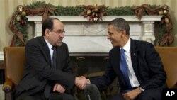 美國總統奧巴馬(右)和伊拉克總理馬利基(左)