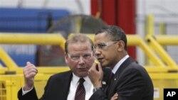 美國總統奧巴馬在威斯康辛州參觀企業