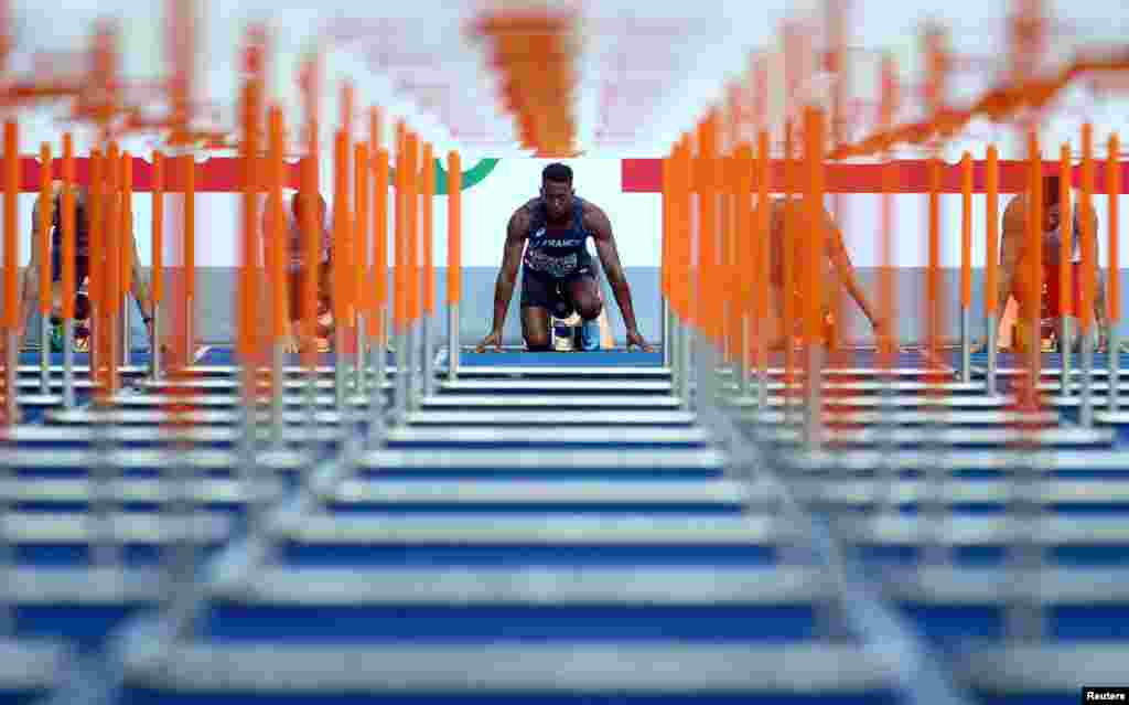 Ruben Gado of France is seen before the men's decathlon 110-meter hurdle race at the Olympic Stadium in Berlin, Germany, during the 2018 European Championships.