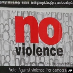 Poster in Colombo appealing for a peaceful election day