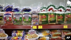 Gardenia and Massimo bread are seen on the shelf of a Malaysian store in Kuala Lumpur.