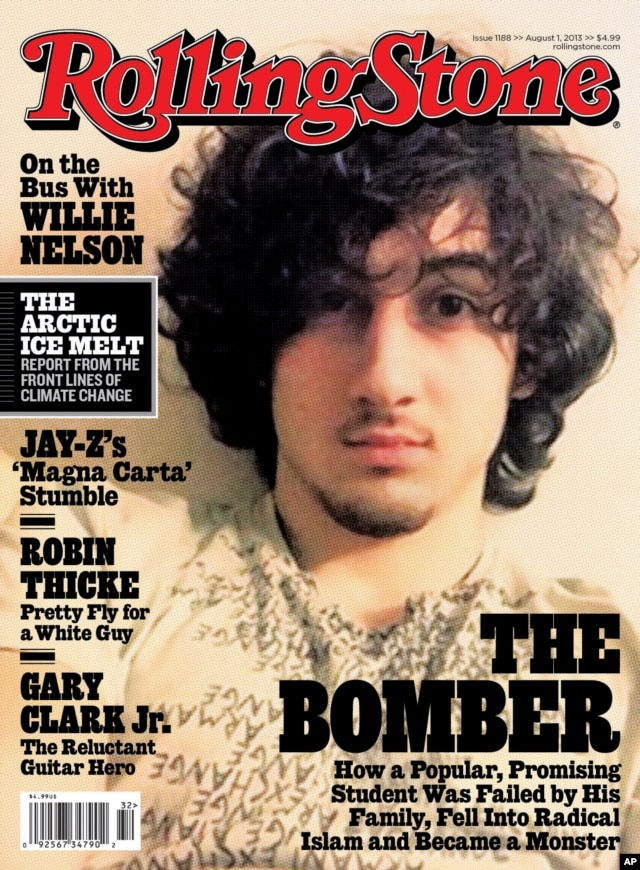 "In this magazine cover image released by Wenner Media, Boston Marathon bombing suspect Dzhokhar Tsarnaev appears on the cover of the Aug. 1, 2013 issue of ""Rolling Stone."""
