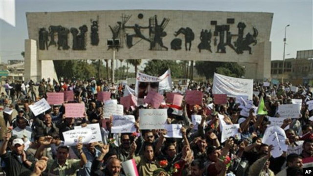 Protesters chant anti-government slogans during a demonstration in Baghdad, Iraq, March 4, 2011