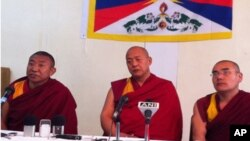 Head of Kalachakra Organizing Committee speaks at a press conference Wednesday.