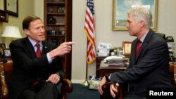 U.S. Supreme Court nominee Judge Neil Gorsuch, right, meets with Senator Richard Blumenthal, a Connecticut Democrat, on Capitol Hill in Washington, Feb. 8, 2017.