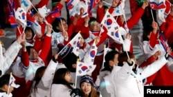Vận động viên Nam-Bắc Hàn tại lễ bế mạc Thế vận hội Mùa đông ở Pyeongchang năm 2018.