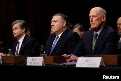 在参议院今年2月的一个听证会上,美国联邦调查局局长克里斯托弗·雷(Christopher Wray)等人作证。