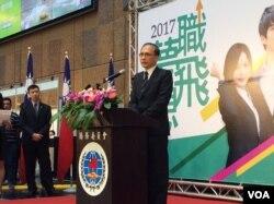 台湾行政院长林全2017年4月15日参加台北车站的东南亚侨台商揽才博览会 (申华 拍摄)