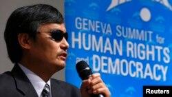 Nhà bất đồng chính kiến khiếm thị Trần Quang Thành phát biểu tại Hội nghị Thượng đỉnh về Nhân quyền và Dân chủ lần thứ 6 ở Geneve, 25/2/14