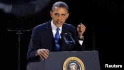 奥巴马总统在选举也对支持者发表胜选演讲