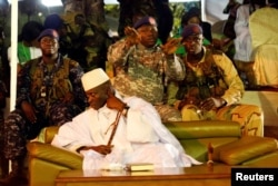 Gambia's President Yahya Jammeh, who is also a presidential candidate for the Alliance for Patriotic Re-orientation and Construction (APRC) attends a rally in Banjul, Gambia, Nov. 29, 2016.