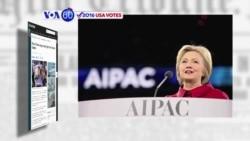 VOA60 Elections- Hillary Clinton rebukes Donald Trimp at AIPAC