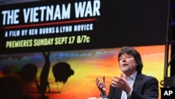 "Ken Burns participates in the ""The Vietnam War"" panel during the PBS portion of the 2017 Summer Television Critics Association meeting at the Beverly Hilton Hotel in Beverly Hills, Calif., July 30, 2017."