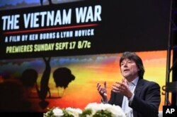 "Ken Burns participates in the ""The Vietnam War"" panel during the PBS portion of the 2017 Summer TCA's at the Beverly Hilton Hotel in Beverly Hills, Calif., July 30, 2017."