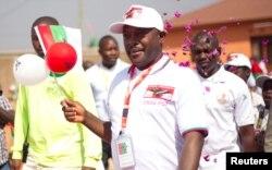 FILE - Burundi's President Pierre Nkurunziza arrives for the ruling Conseil National pour la Defense de la Democratie - Forces pour Defense de la Democratie (CNDD-FDD) party extraordinary congress in Gitega Province, Burundi, Aug. 20, 2016.