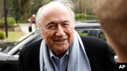 President of FIFA Sepp Blatter arrives at the Culloden Hotel, Belfast, Northern Ireland on Feb. 27, 2015. (AP Photo/Peter Morrison, File)