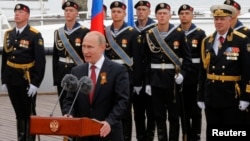 Russian President Vladimir Putin makes a speech during events marking Victory Day, in Sevastopol, Crimea, May 9, 2014.