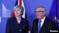 European Commission President Jean-Claude Juncker meets with British Prime Minister Theresa May at the European Commission headquarters in Brussels, Belgium February 7, 2019.