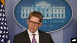White House Spokesman Jay Carney speaks to reporters on March 11, 2014.