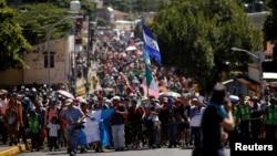 Đoàn di dân tìm cách vào Hoa Kỳ đã đi tới Tapachula, Mexico, vào ngày 22/10/2018.